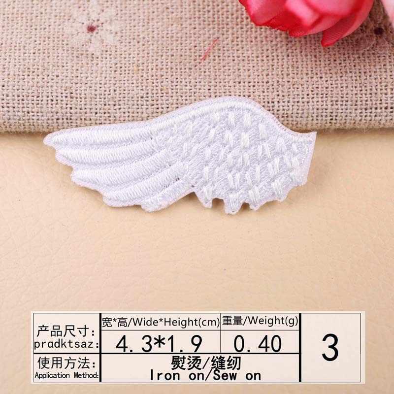 1 par de alta qualidade preto branco asas bordado ferro no remendo roupas jeans sapatos decoração reparação costura diy decalques aplique