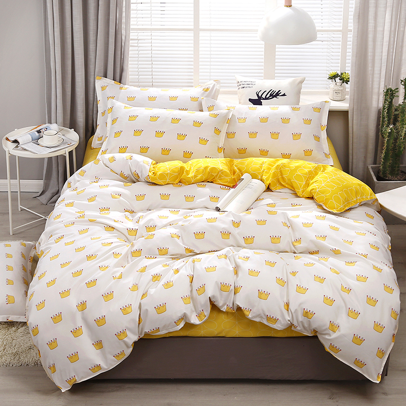 White and Yellow Comforter Set | White Yellow Patterned Sheets set