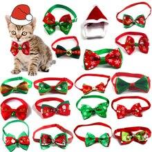 Hat Cat Cute with Single Velvet Christmas Pet-Supplies 2pcs Bow-Tie Neck-Strap Dog-Collar