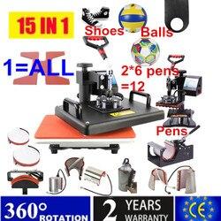 Máquina de prensado en caliente de sublimación multifuncional Combo 15 en 1, impresora de transferencia de calor para tazas/tapas/fútbol/botella/pluma/zapato