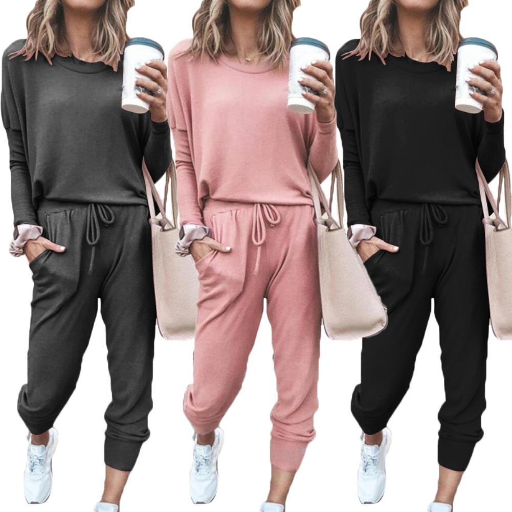 New Women Solid Color Long Sleeve O Neck Blouse Top Drawstring Pants Sport Tracksuit Hot Sale Confortable