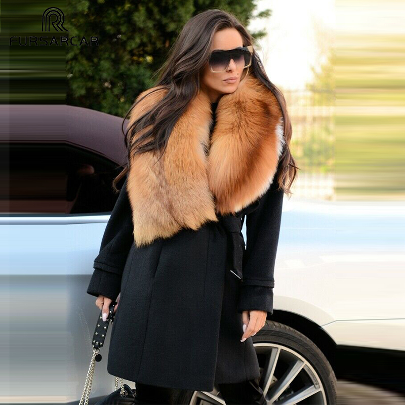 FURSARCAR 2019 New Solid Women Real Fur Coat Luxury Sheepskin Coat With Red Fox Fur Collar And Cuff Winter Fashion Wool Fur Coat
