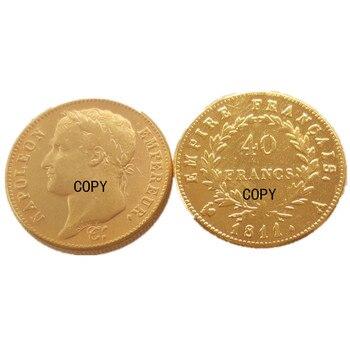 Francia 40 F 1809A 1811A 1812A moneda chapada en oro