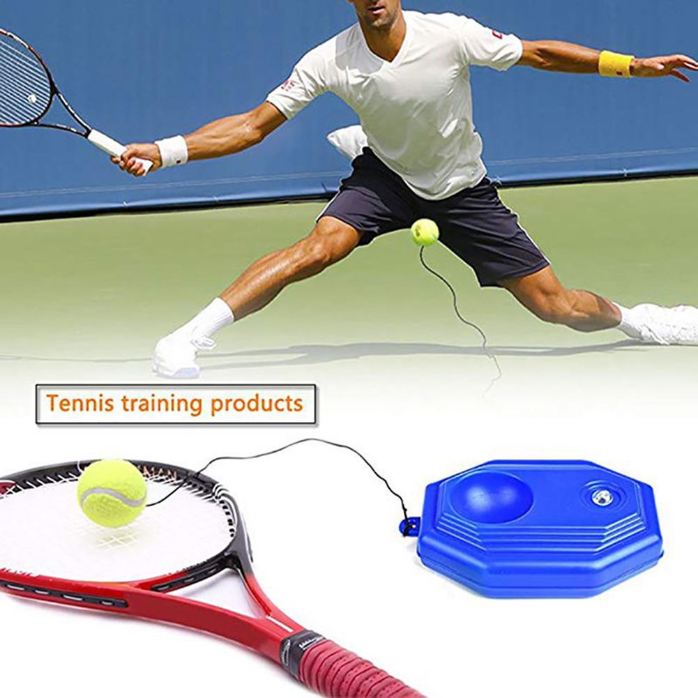 1 Set Tennis Trainer Tennis Base+Training Ball With Rope Durable  Self-study Rebound Balls Sparring Device Tennis Trainer Sports