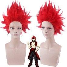 My Hero Academia Kirishima Eijiro Cosplay peruk kostüm Boku hiçbir kahraman Academia cadılar bayramı partisi Midoriya arkadaş kızıl saç peruk