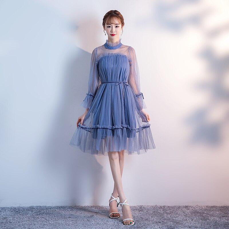 Blue Bridesmaid Dresses Elegant Evening Wedding Knee Length Plus Size Tulle Dress Sexy Prom Simple Dress Graduation Vestidos