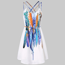 2021 Fashion New Women Summer Bohemian O-neck Sleeveless A-line Swing Dress Casual Tunic Plus Size Knee Length Loose Sundress
