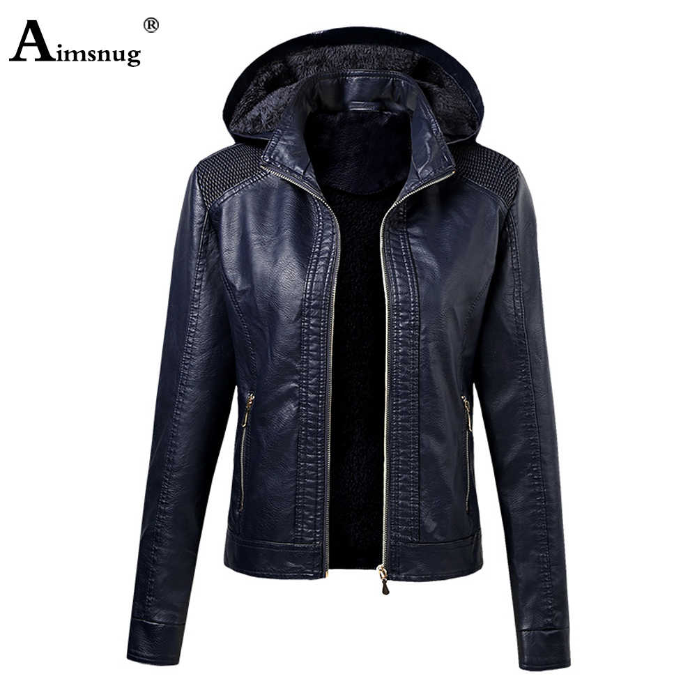 Aimsnug 2020 Baru PU Jaket Kulit Wanita Musim Gugur Berkerudung Pakaian Kantong Zipper Slim Biker Jaket Hoodies Plus Beludru