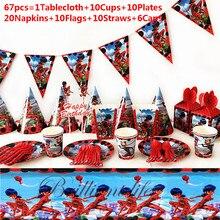 Мультфильм Божья коровка девочка 67 шт/97 шт одноразовые столовые приборы баннер на тарелке, чашке ребенок день рождения украшения семейные вечерние принадлежности