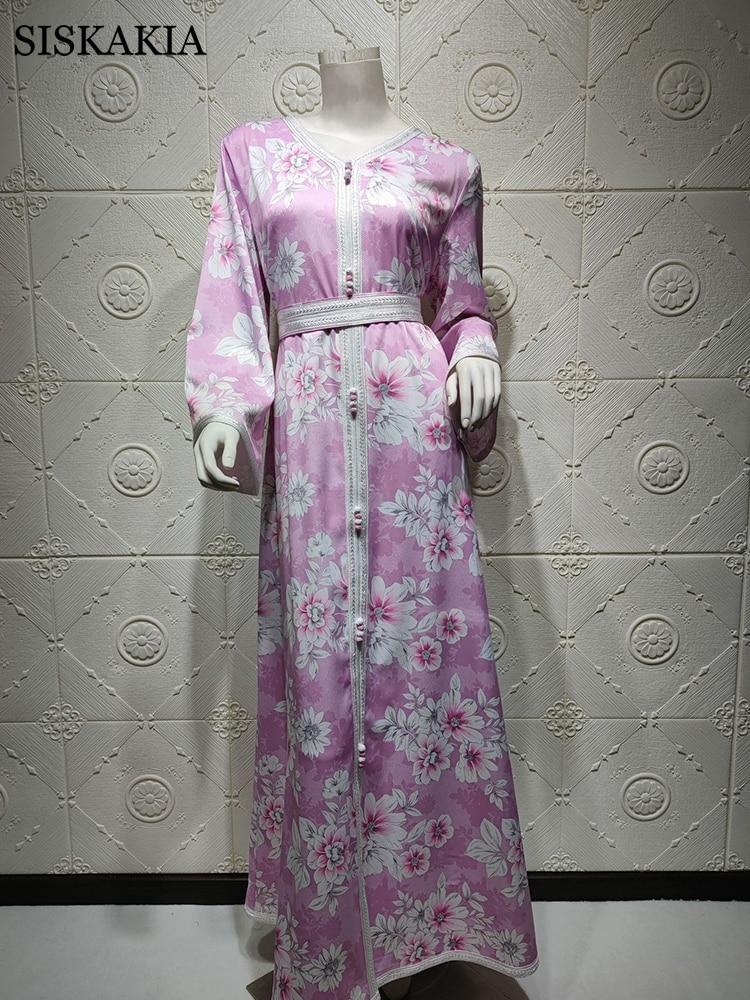 Siskakia Long Sleeve Maxi Dress for Women Sweet Blue Pink Dubai Abaya Fashion Ribbon Trim V