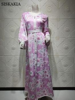 Siskakia Long Sleeve Maxi Dress for Women Sweet Blue Pink Dubai Abaya Fashion Ribbon Trim