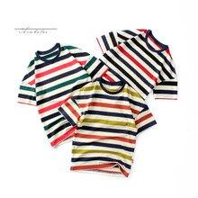Summer Boys Multicolor Striped T Shirt Children Short Sleeve Cotton T Shirts Kids Clothing Boys Tops Tees T Shirt Girls Shirts стоимость