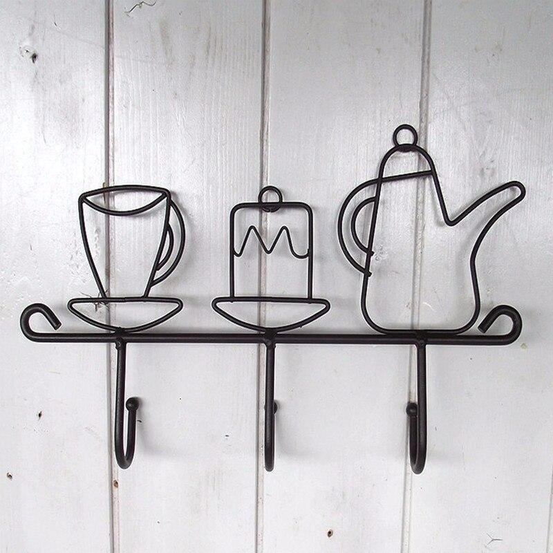 Offre spéciale créative fer crochet jardin décoration de la maison dessin animé tasse forme chapeau Rack vêtements cintre noir mode fer oreille fermoir 1 pièces - 6