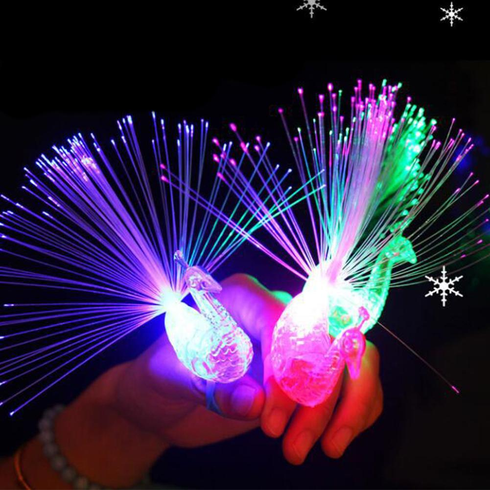 Peacock Finger Light Colorful LED Light-up Rings Party Gadgets Kids Intelligent Toy For Brain Development-Color Random