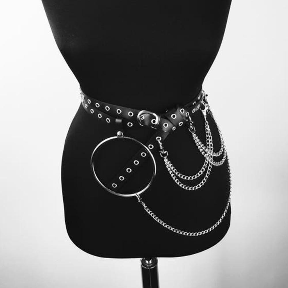 CKMORLS Lady PU Leather Harness Belt Bdsm Big O Ring Waist Belt With Chains Buckle Fetish Women Adjustable Garters Straps Belts