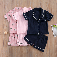 Kids Pajama Sets Two-pieces Sleepwear Suit Short Sleeve Single Breasted Shirt Tops with Front Pocket and Elastic Short Pants