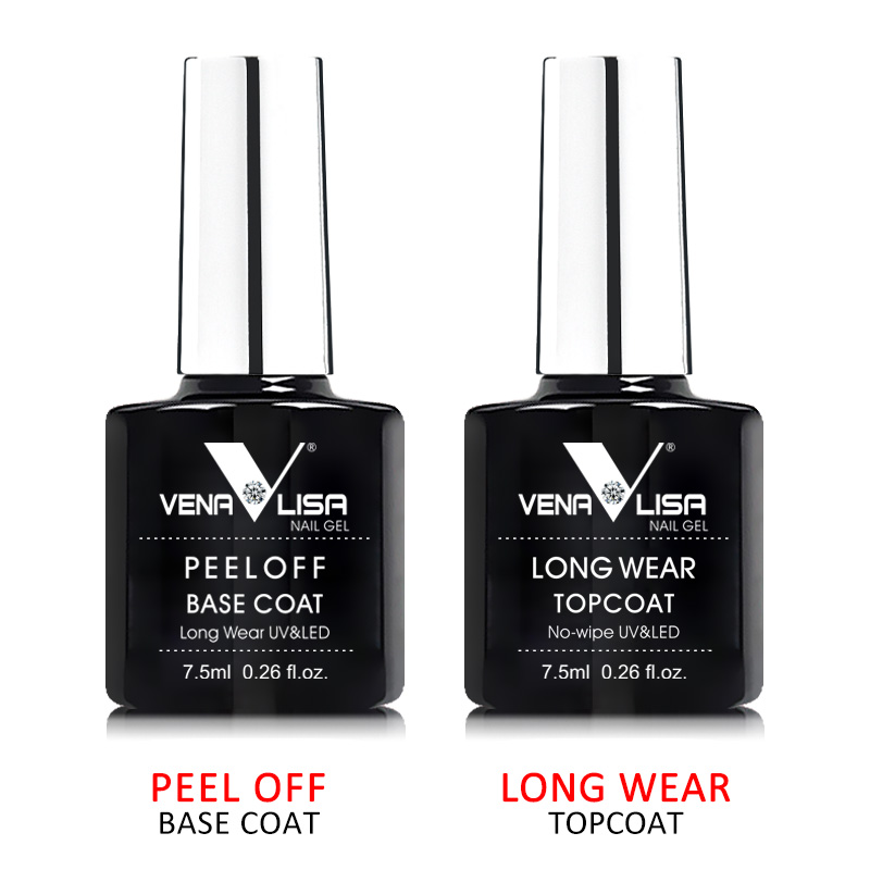 VENALISA New Arrival Long Wear Tempered Nowipe Top Coat Easy Peel Off Water Base Coat Basic Nail Gel Polish Enamel Varnish gels 1