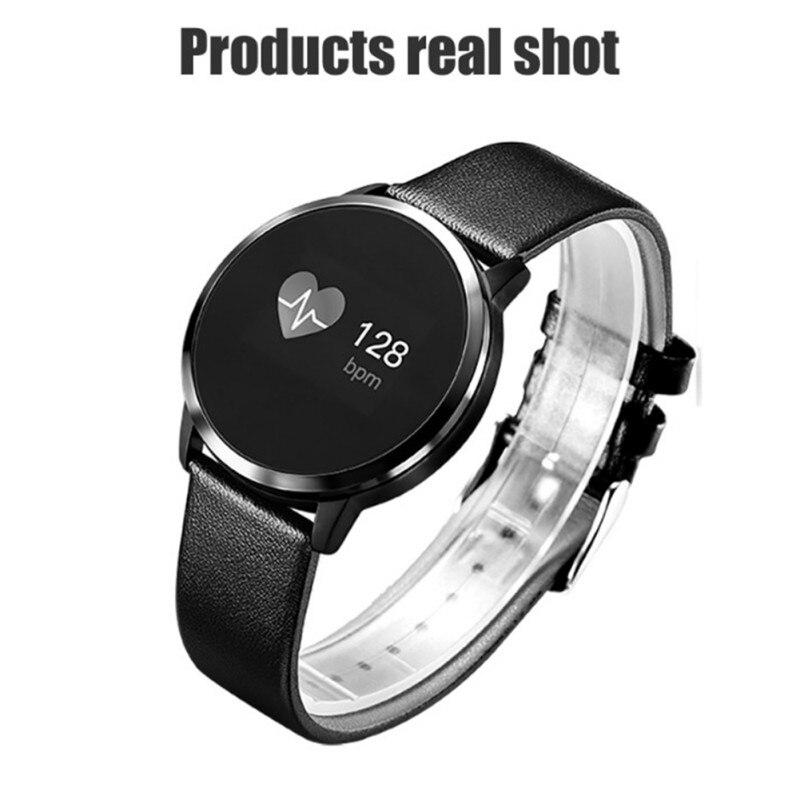 Q8 Smart Watch Color Screen Stainless Steel Waterproof Men Women Fashion Fitness Tracker Heart Rate Monitor Watch