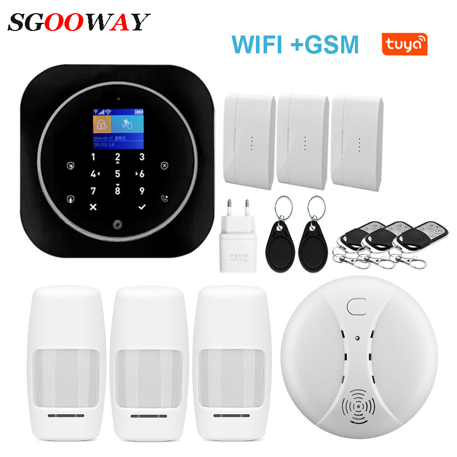 Sgooway Factory Touch Keypad WIFI GSM Home Burglar Security Wireless Tuya  Alarm System Motion Detector APP Control Fire Smoke