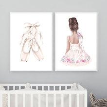 Moda bale ayakkabıları Poster baskı dans kız geri tuval boyama sanat resim güzellik salonu kız odası dekorasyon