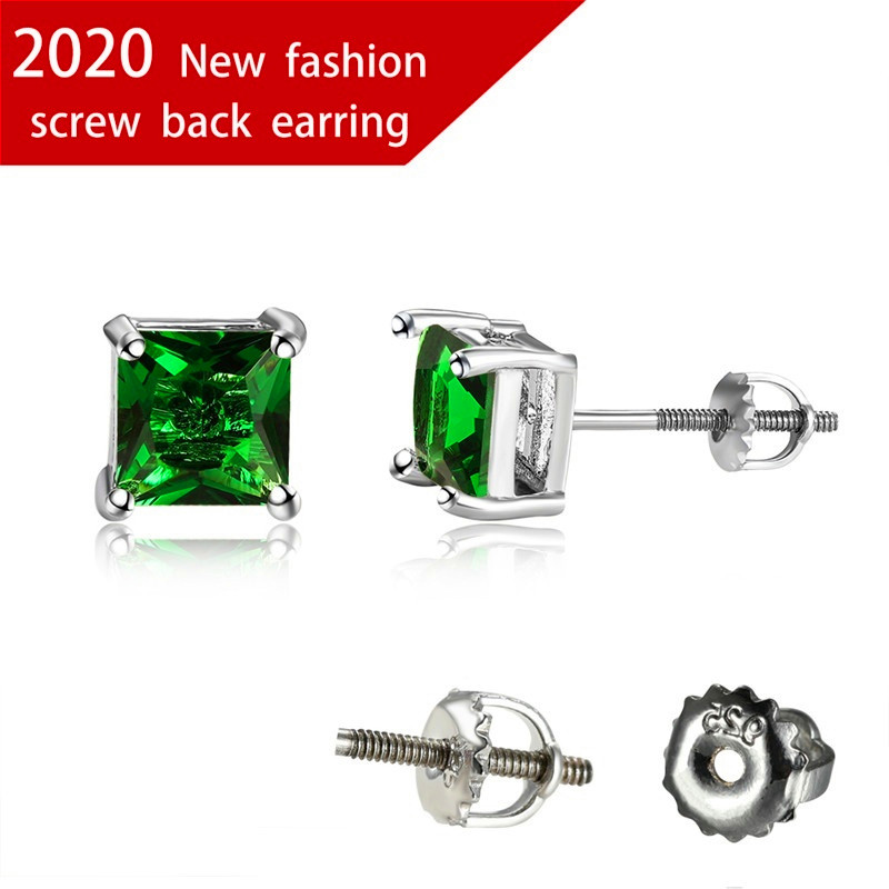6MM Princess Cut Green Zircon Screw Back Earrings For Women Multicolor Crystal Square Stone Stud Earrings Female Wedding Jewelry