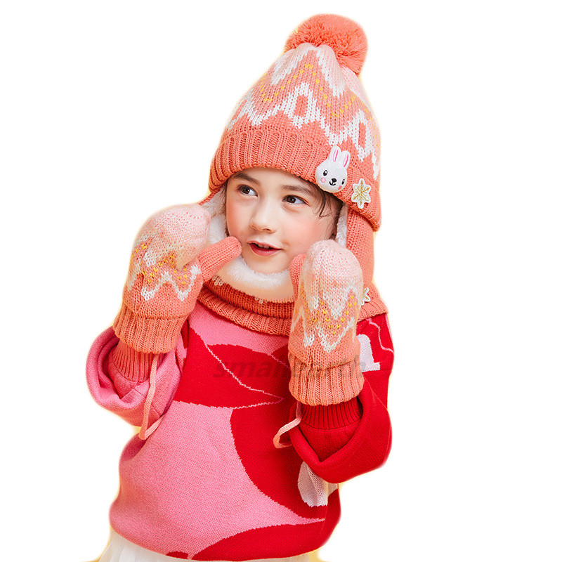 3pcs/Set Thickening Winter Children Scarf Hat Gloves Sets Boy Girl Neck Warmer Baby Hat Scarf Suit Knitted Cotton Kids Hats Set