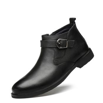 Męskie buty męskie buty sukienka skórzane buty męskie buty zimowe ciepłe formalne buty weselne męskie buty do biura tanie i dobre opinie CHAXICHEN Podstawowe Prawdziwej skóry Skóra bydlęca ANKLE Stałe Skóra licowa Okrągły nosek RUBBER Zima Mieszkanie (≤1cm)