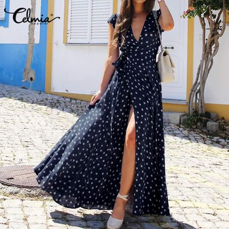 Celmia Bohemian Summer Sundress Women Split Hem Short Sleeve V-neck Polka Dot Long Dress Sexy High Waist Beach Maxi Vestido Robe