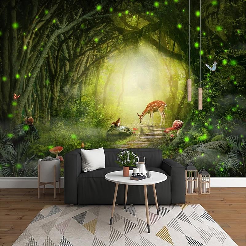 3D Photo Wallpaper Mural Living Room Children Room Bedroom Beautiful Scenery Big Tree Green Forest Elk Wall Decoration Painting