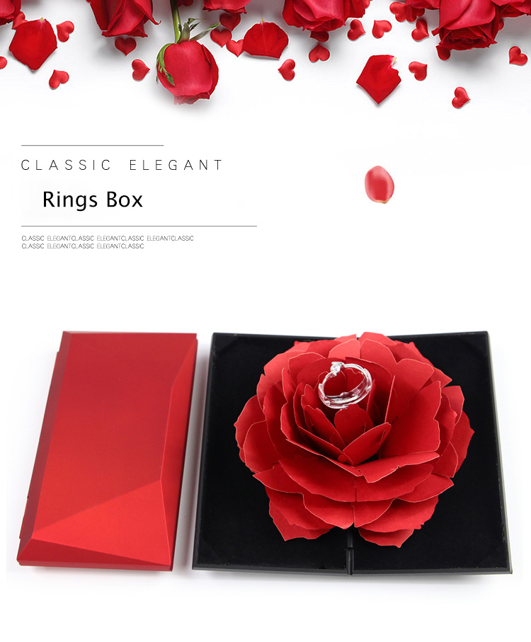 Unique Pops Up Rose Wedding Engagement Rings Box Surprise Jewelry Storage Holder Valentine's Day Best Gift Boxes For Women Rings