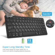 TeckNet Wireless Keyboard Russian Computer Keyboards Slim USB Laptop Single Key board for Mini TV Android Windows 10 8 7 XP us keyboard layout ultra slim 2 4ghz usb wireless keyboard with hot keys design for android smart tv windows 10 8 7 xp vista
