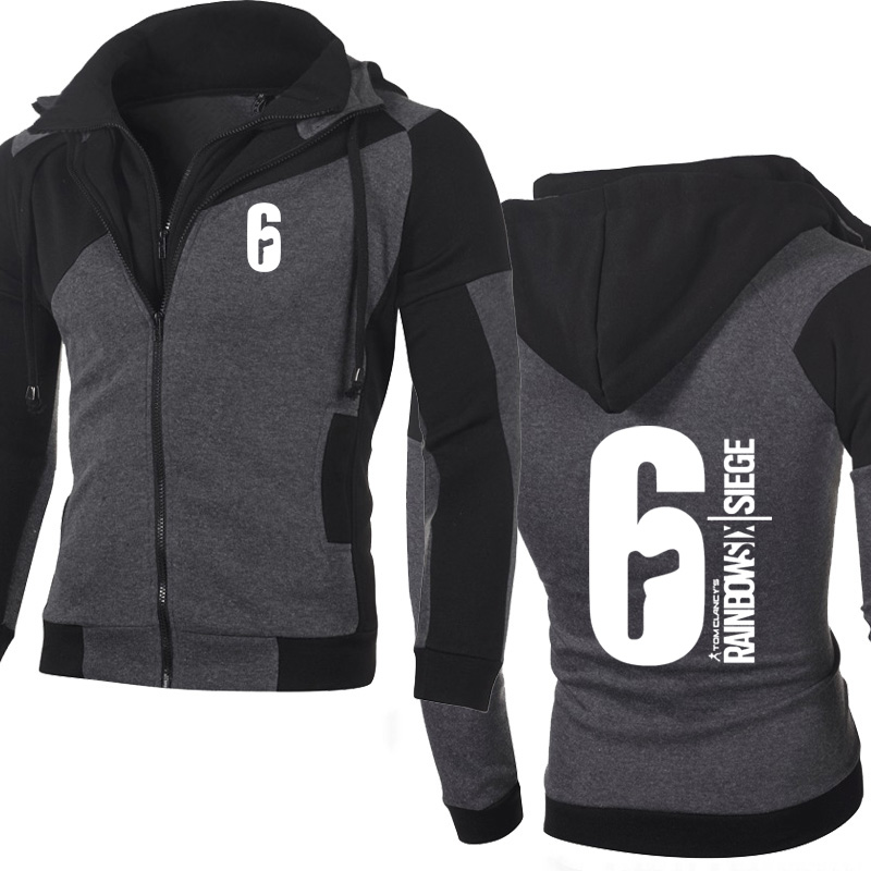 Spring Autumn Jacket Men Rainbow Six Siege Sweatshirt Fleece Wram Zipper Jacket Man Hoodie Hip Hop Harajuku Male Clothing
