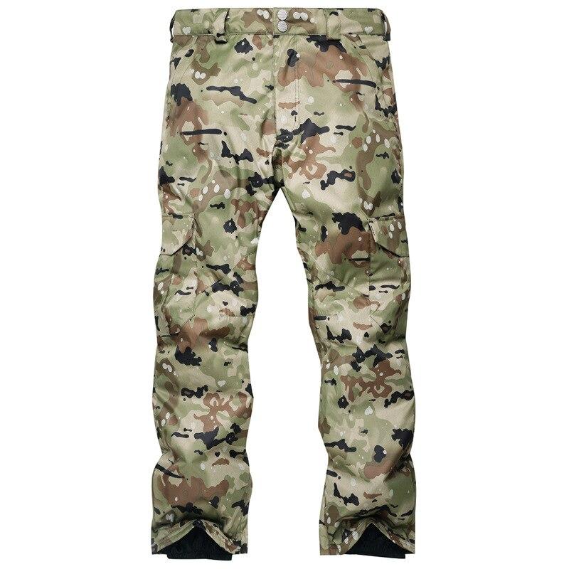 Pantalon de ski homme placage double plaque vent chaud et imperméable pantalon de ski camouflage épais
