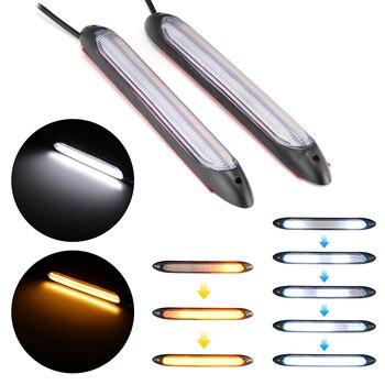 2pcs Universal DRL Light Car LED Daytime Running Light Scan Waterproof Headlight Strip Sequential Flow Yellow Turn Signal White