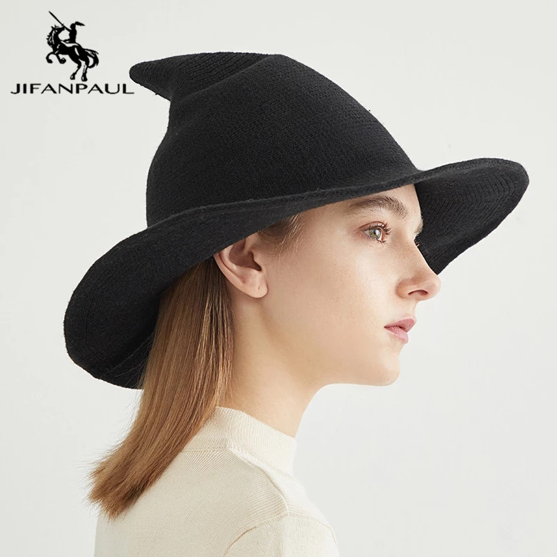 JIFANPAUL nuevo sombrero de pescador de invierno de alta calidad de punto sombrero de lana de color sólido casual de Marca Diseño señaló sombrero de bruja