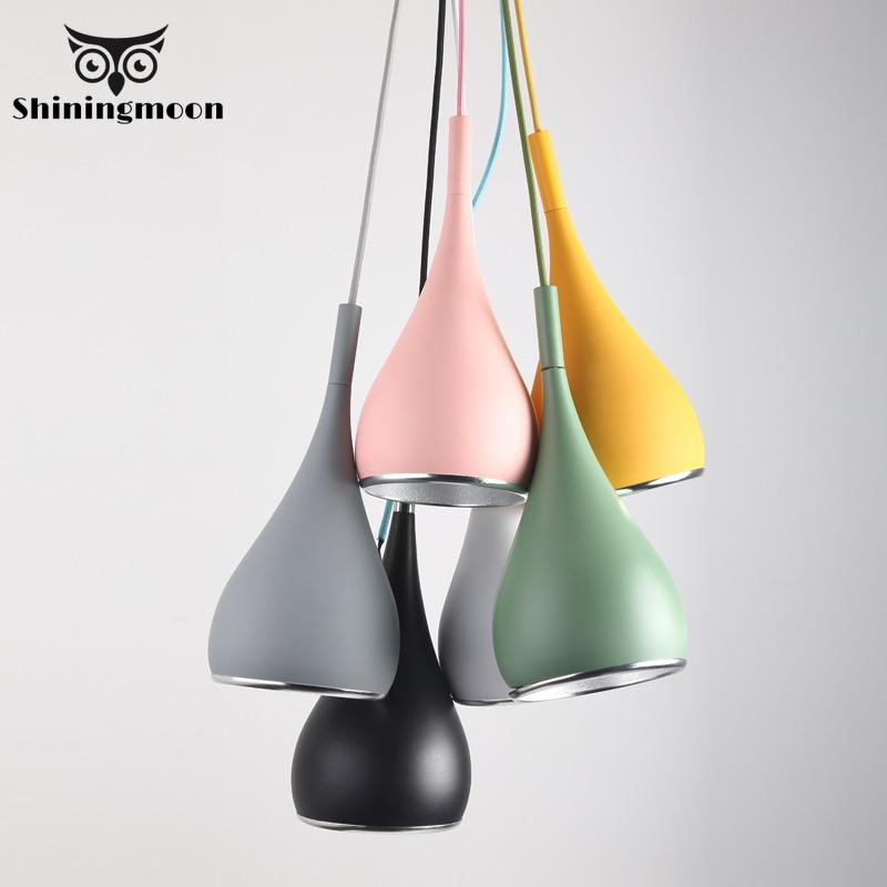 Modern Aluminum Lampshade Pendant Lights Industrial Loft Dining Room Home Decor Pendant Lamp Nordic Colour Hanglamp Luminaria