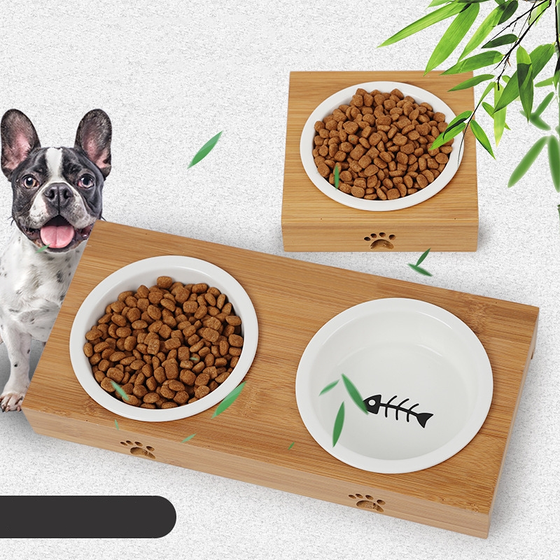 Dog Feeders Cat Bowl Pet Food Water Bowls Single Double Ceramic Tableware Bamboo Frame Antiskid Pets Supplies Accessories