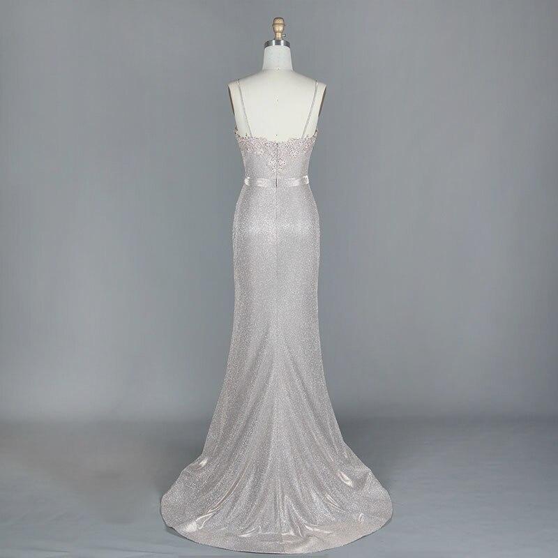 2019 nouveau Sexy robe de soirée bleu clair rouge mot épaule longue robe de soirée mariée fête Sexy dos nu fête d'anniversaire Costume - 3