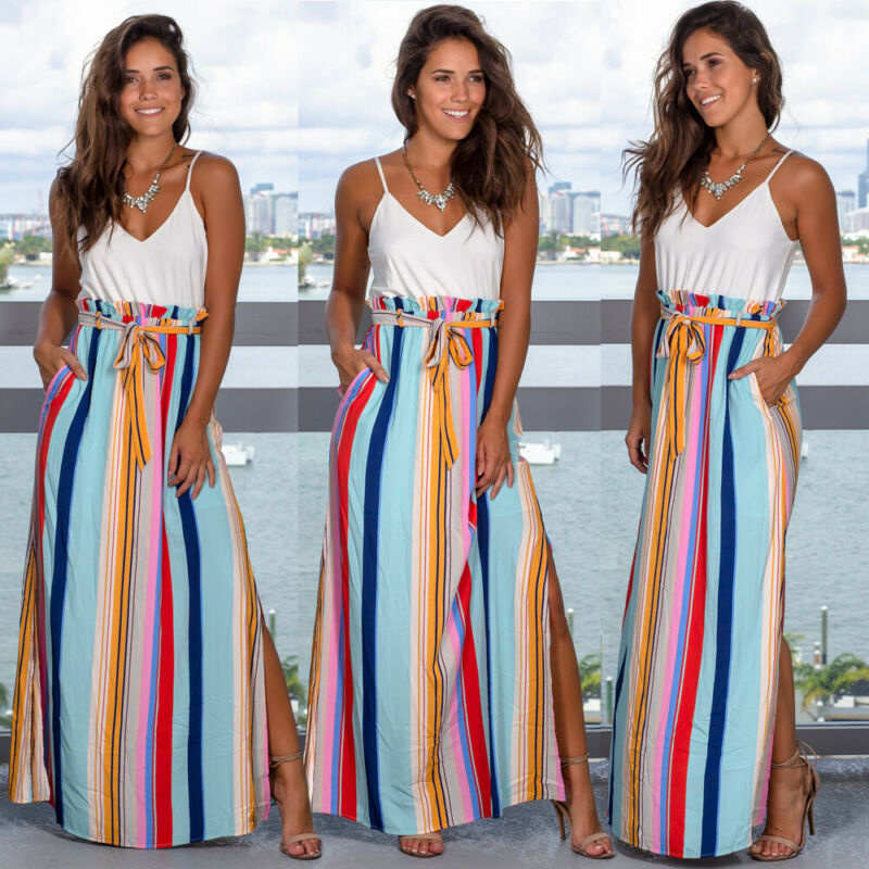 2019 Women Fashion BOHO Skirts Summer Casual Ladies Striped Gypsy Long Maxi Full Skirt Split Sundress With Belt