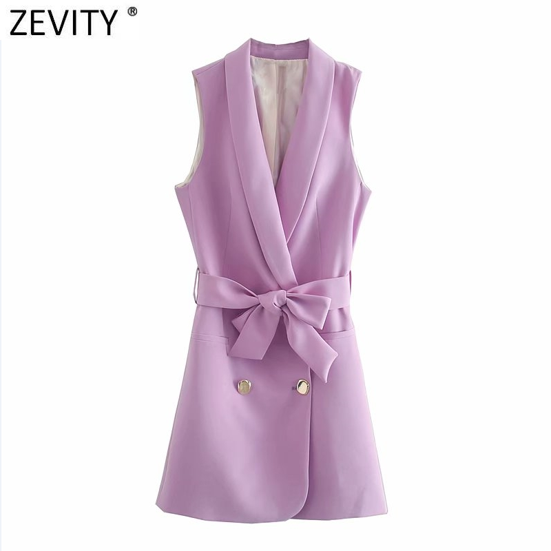 Zevity New Women fashion double breasted solid color vestido vest dress office ladies casual slim bow sashes Chic Dresses DS4182