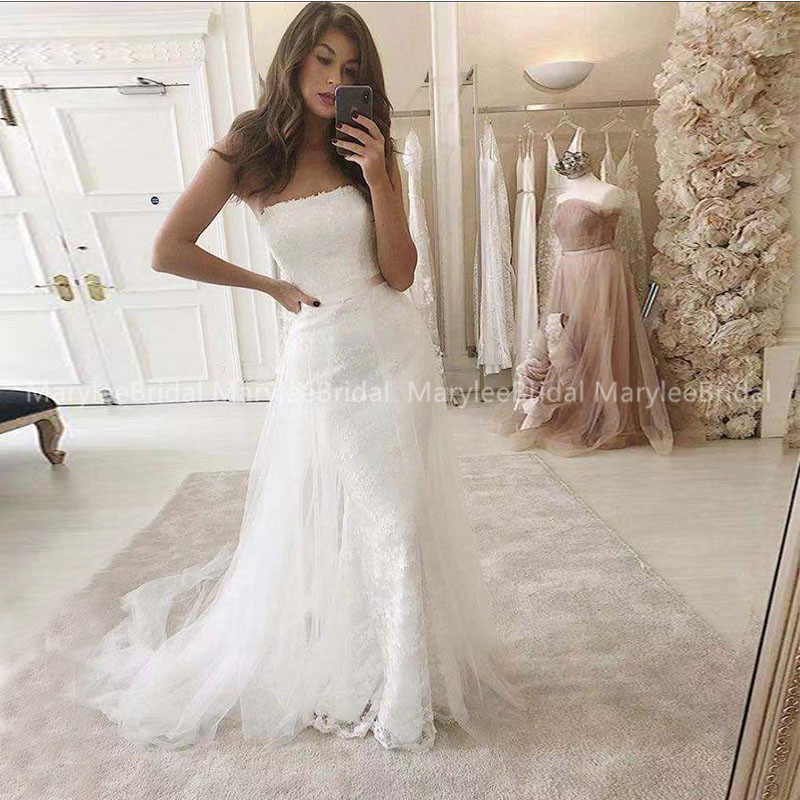 Detachable Train Mermaid Wedding Dress 2020 Luxury Strapless Lace Bride Gowns Robe De Mariage Custom Romantic Vestito Da Sposa