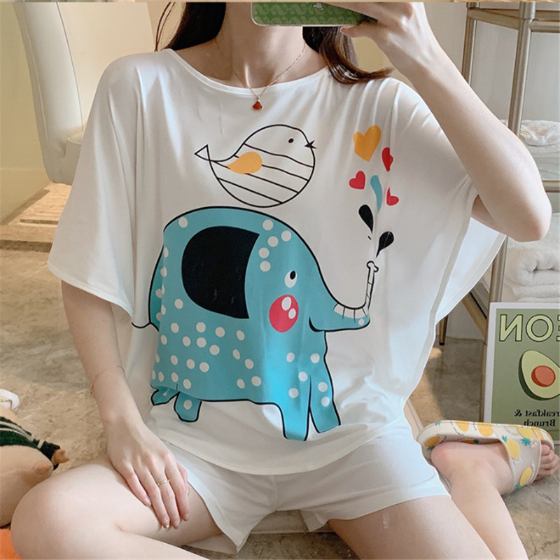 Cute Cartoon Elephant Pattern 2 Piece Suit Bat Sleeve 2020 Summer Short Sleeve O-neck Pajamas Female Student Comfortable Pajamas