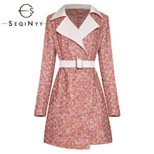 SEQINYY Trench Coat 2020 Spring Autumn New Fashion Design Women Long Sleeve Flowers Printed Long Overcoat(China)