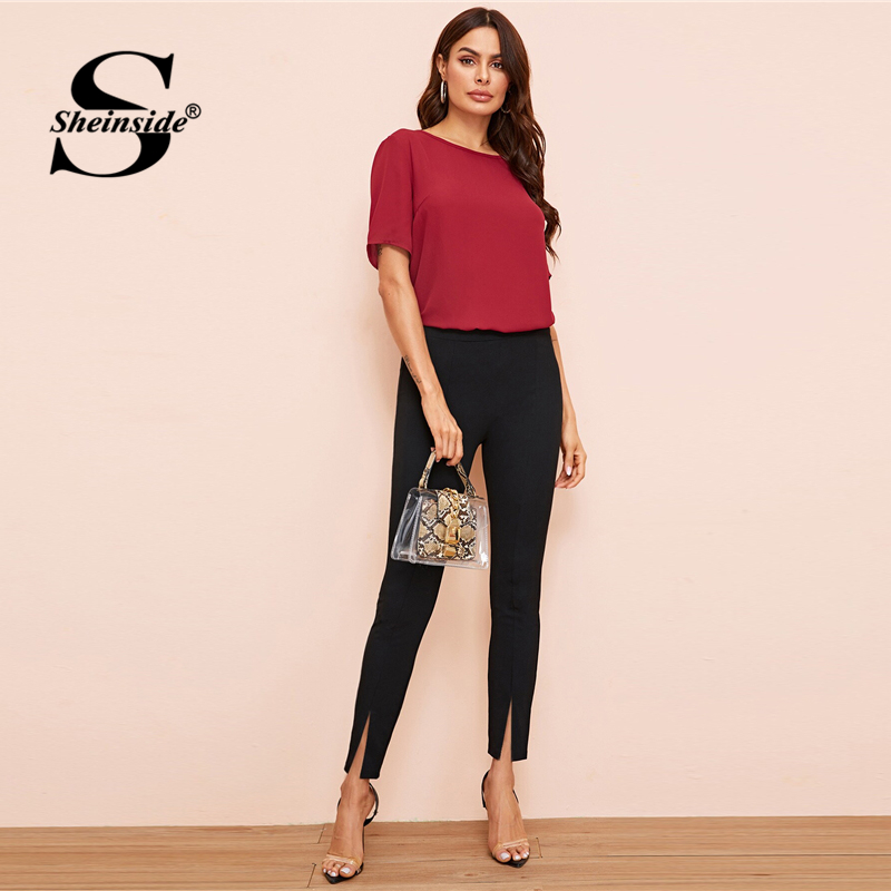 Image 5 - Sheinside Black Elegant High Waist Skinny Pants Women 2019 Autumn Elastic Waist Crop Trousers Office Ladies Split Hem Pants-in Pants & Capris from Women's Clothing