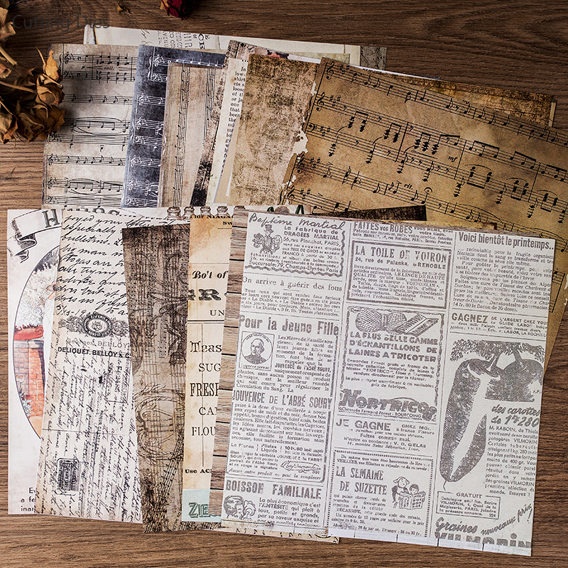 20Pcs/lot 20x20cm Vintage Words Background Scrapbooking Paper Sticker Vellum Paper Card Making Diy Journal Project 1