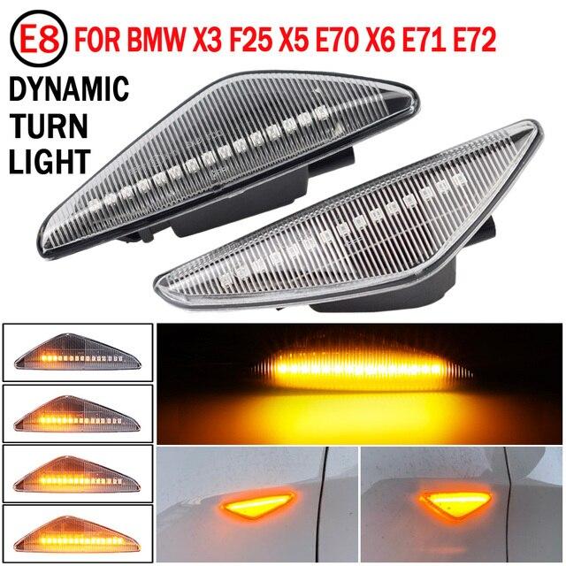 BMW için X3 F25 X5 E70 X6 E71 E72 2008 2014 LED dinamik dönüş sinyal ışığı yan çamurluk Marker lamba sıralı göstergesi flaşör