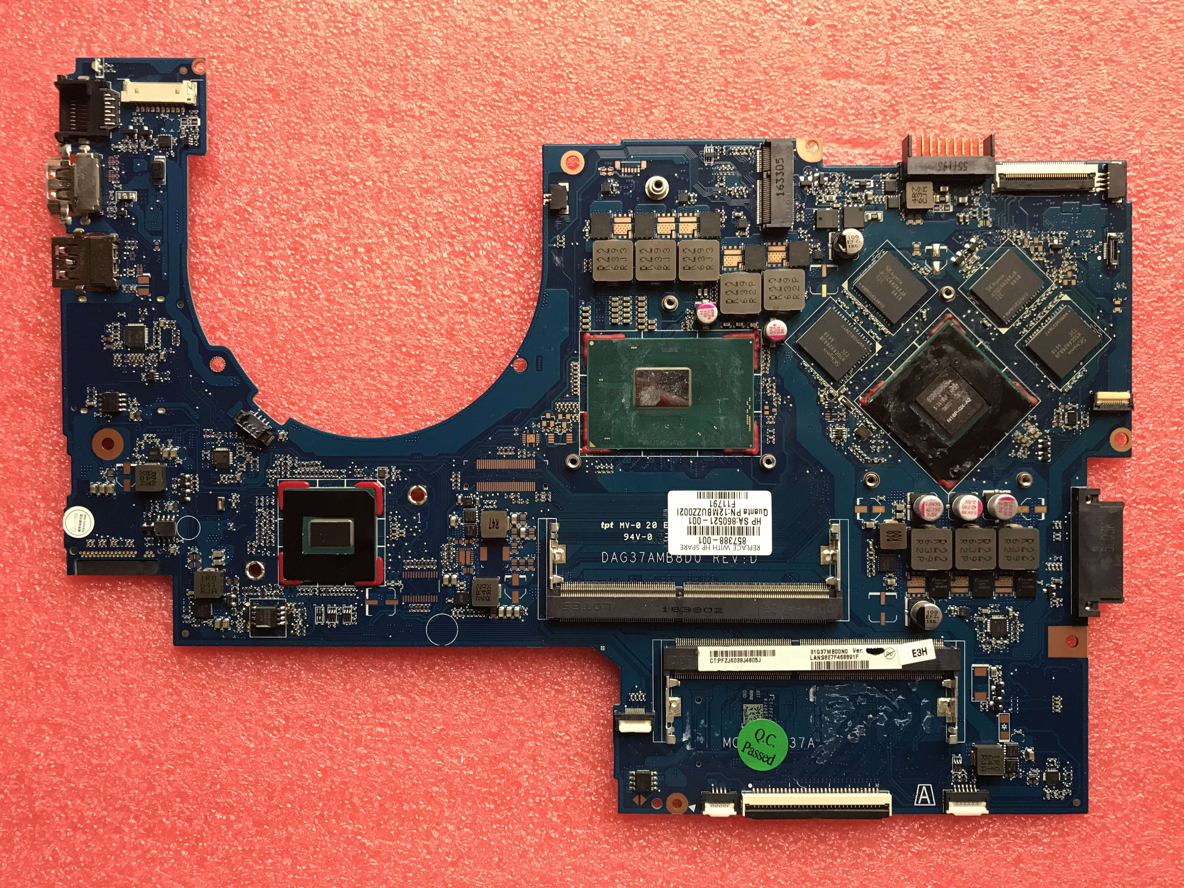 [gift mask] 857388-601 857388-501 857388-001 For HP 17-AB 17-W Laptop Motherboard DAG37AMB8D0 <font><b>SR2FQ</b></font> <font><b>i7</b></font>-<font><b>6700HQ</b></font> CPU GTX 960M image