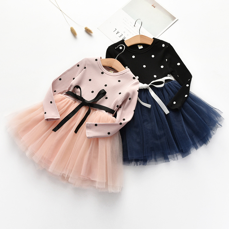 Meninas vestido primavera outono crianças princesa vestido crianças manga longa malha vestidos para o bebê meninas moda bonito vestido de festa roupas|Vestidos|   -