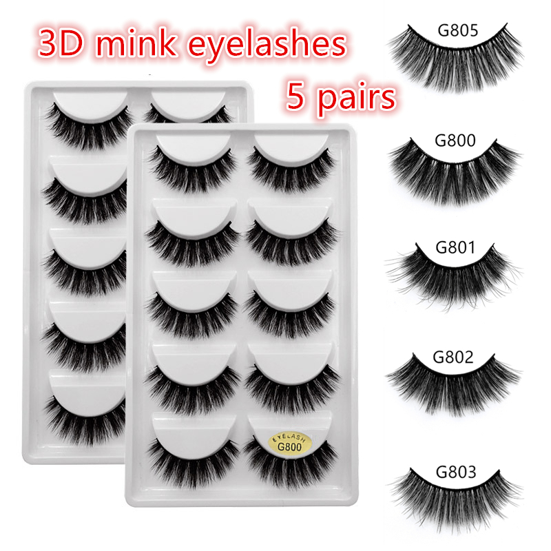 5 Pairs Mink EyeLashes 3D False Lashes Winged Thick Makeup EyeLash Dramatic Lashes Natural Fake Eyelashes Soft Mink Lashes G800