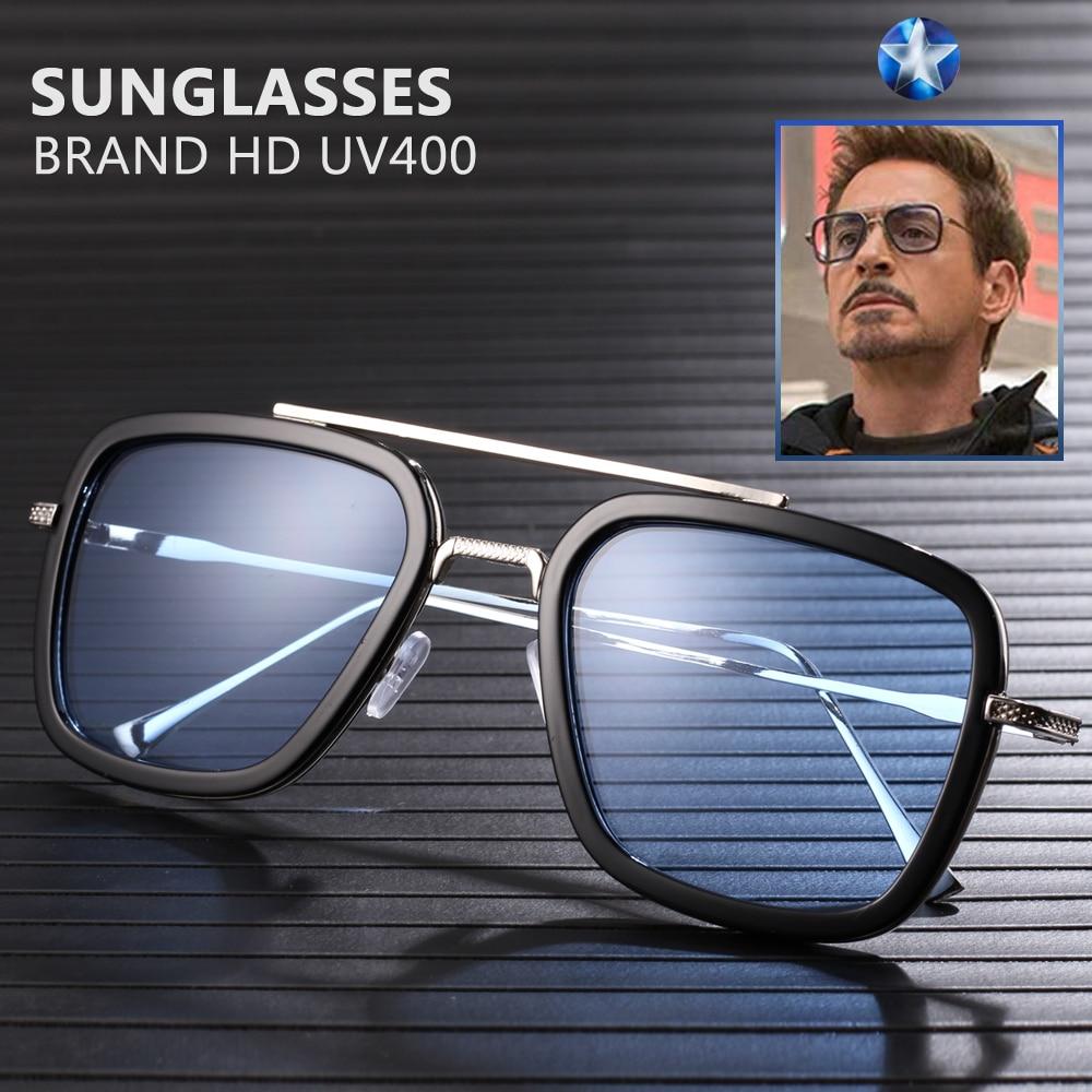 Модные брендовые мужские солнцезащитные очки с Железным человеком, ретро дизайнерские солнцезащитные очки Tony Stark Oculos Masculino Gafas de Goggle